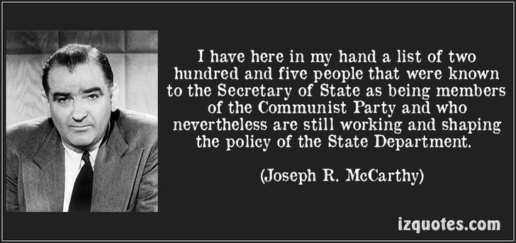 mccarthyism and salem witch hunt Mccarthy's witch hunt joseph mccarthy was a relatively unknown senator from wisconsin nearing the end of his first term in 1950.